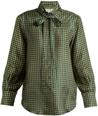 Sea Ethno Pop tie-neck plaid silk blouse