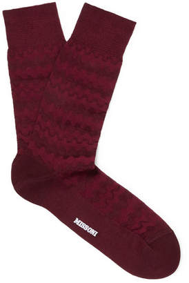 Missoni Crochet-Knit Cotton-Blend Socks - Men - Burgundy