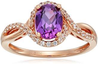 Amazon Collection 10k Rose Gold Created Raspberry Sapphire and Created White Sapphire Ring, Size 7