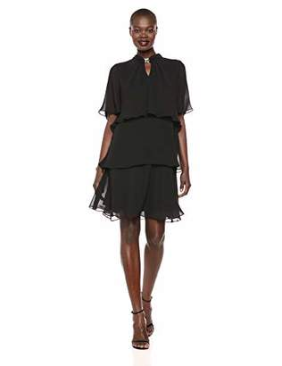 SL Fashions Women's Jewel-Strap Tiered Cocktail Dress