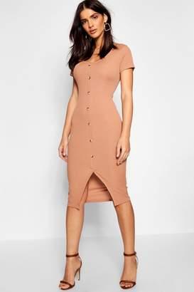 boohoo Horn Button Cap Sleeve Ribbed Midi Dress