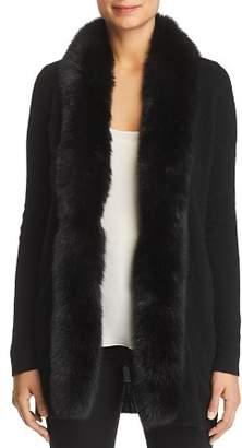 Bloomingdale's C by Fox Fur-Trim Cashmere Cardigan - 100% Exclusive