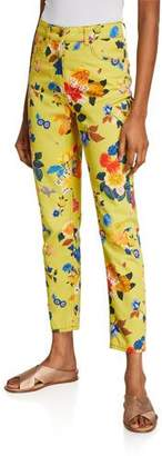 Etro Allover Exotic Floral-Print Jeans