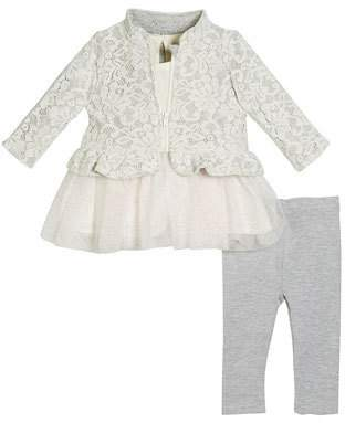 Miniclasix Lace Jacket, Skirted Top & Knit Leggings, Size 3-24 Months