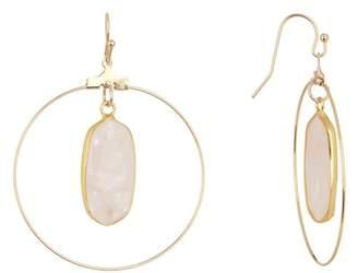 Panacea Light Pink Stone Hoop Drop Earrings