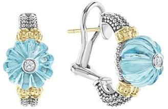 Lagos 18K Gold & Sterling Silver Caviar Forever Diamond & Sky Blue Topaz Melon Bead Half Hoop Earrings