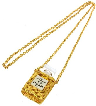 CC Logos Gold Chain Perfume Pendant Necklace
