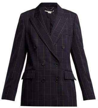 Stella McCartney Double Breasted Checked Blazer - Womens - Navy