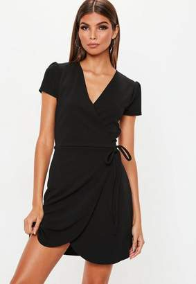 Missguided Short Sleeve Tie Waist Skater Dress