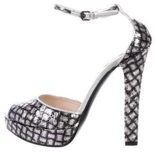 Sergio Rossi Sequin Platform Sandals Silver Sequin Platform Sandals