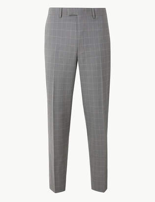 Marks and Spencer Grey Checked Slim Fit Trousers