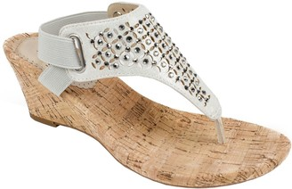 White Mountain Wedge Thong Sandals - Arnette