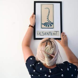 Lelloliving Le Serpent Framed Vintage French Snake Print