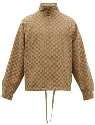 Gucci Gg Jacquard Canvas Bomber Jacket - Mens - Brown