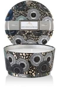 Voluspa White Currants & Alpine Lace 3-Wick Pedestal Tin Candle, 12 oz.