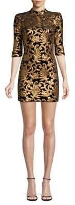 Alice + Olivia Inka Strong Shoulder Mockneck Dress