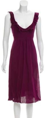 Burberry Ruffle-Trimmed Midi Dress