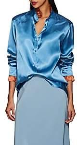 THE GIGI Women's Luna Ruffled Satin Blouse - Blue