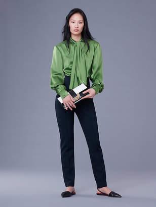 Diane von Furstenberg High Neck Satin Bow Blouse