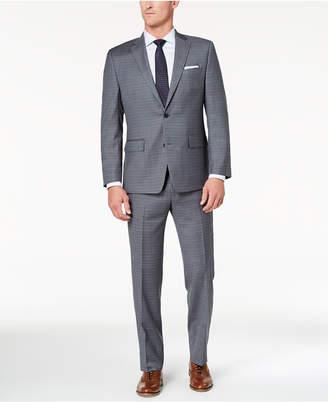 Michael Kors Men's Big & Tall Classic-Fit Light Gray/Blue Grid Suit