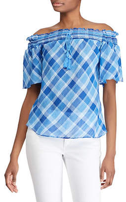 Lauren Ralph Lauren Plaid Elbow-Sleeve Cotton Top