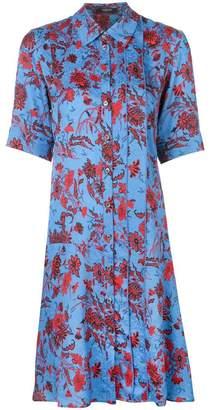 Derek Lam Short Sleeve Nightshade Floral A-Line Shirt Dress