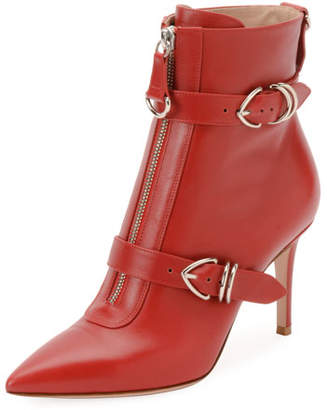 Gianvito Rossi Napa Buckled Zip-Front Ankle Bootie, Red