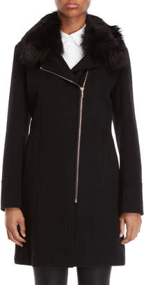 Karl Lagerfeld Paris Faux Fur Collar Asymmetric Zip Coat