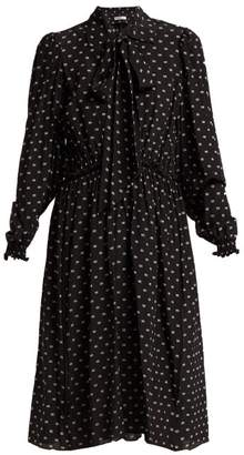 Balenciaga Reverence Bb Print Tie Neck Silk Dress - Womens - Black Print