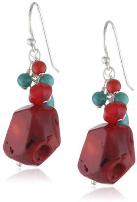 "Barse Basics"" Red Bamboo Coral Turquoise Drop Earrings"