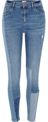 River Island Womens Blue block panel Amelie super skinny jeans