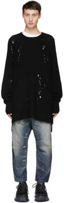 Julius Black Knitted Crewneck Sweater