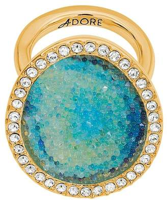 Adore Gold Plated Blue Swarovski Graphic Crystal Inlay & Pave Halo Ring - Size 7
