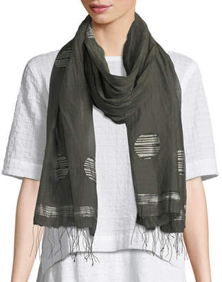 Eileen Fisher Jamdani Hand-Loomed Dot Silk/Linen Scarf