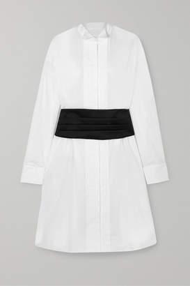 MM6 MAISON MARGIELA Satin-trimmed Pintucked Cotton-poplin Dress - White
