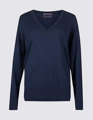 Marks and Spencer Pure Merino Wool V-Neck Long Sleeve Jumper