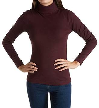 Three Dots Women's Heritage Rib Diane l/s Turtleneck Long Tight Shirt
