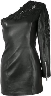 Balmain leather one-shoulder dress