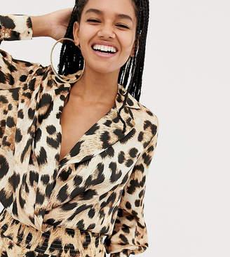 Asos Design DESIGN x LaQuan Smith wrap front bodysuit in leopard print