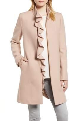 Kensie Ruffle Twill Coat