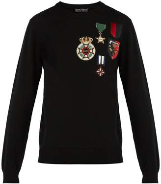 Dolce & Gabbana Medal-embroidered wool sweater