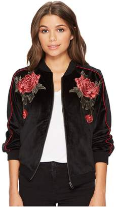 BB Dakota Eleni Velvet Bomber Jacket with Floral Patches Women's Coat