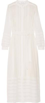 Oscar de la Renta - Belted Lace-paneled Silk-georgette Maxi Dress - White $3,990 thestylecure.com
