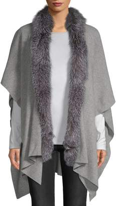 Sofia Cashmere Women's Fox Fur-Trimmed Cashmere Shawl Wrap