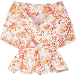 Caroline Constas Marcella Off-the-shoulder Printed Cotton-blend Poplin Top - Orange