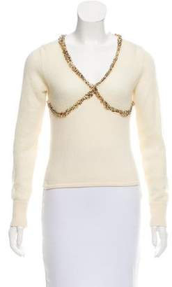 Versace Long Sleeve V-Neck Sweater
