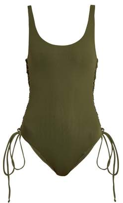 Melissa Odabash Cuba Lace Side Scoop Neck Swimsuit - Womens - Khaki