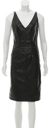 Stella McCartney Faux Leather V-Neck Dress