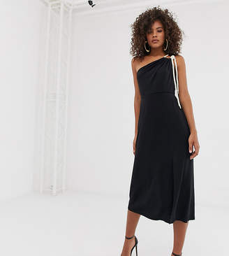 68776e4e6198 Asos Tall DESIGN Tall slinky one shoulder midi dress with rope detail