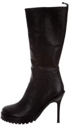 Ann Demeulemeester Round-Toe Knee-High Boots Black Round-Toe Knee-High Boots